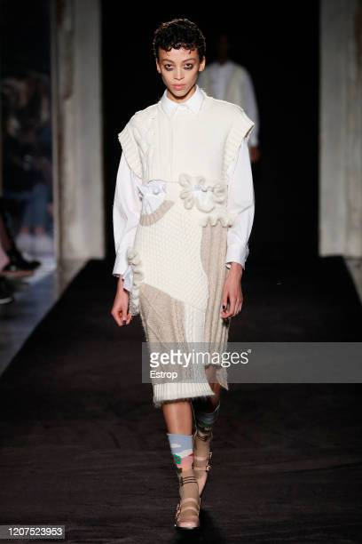 February 20: A model walks the runway during the Vivetta fashion show as part of Milan Fashion Week Fall/Winter 2020-2021 on February 20, 2020 in...