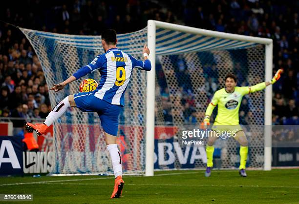 Jorge Burgui and German Lux during the match between RCD Espanyol and Deportivo de la Coruna corresponting to the week 25 of the spanish league...