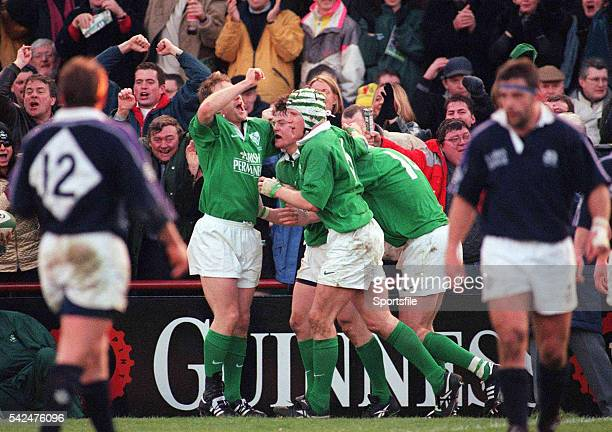 19 February 2000 Brian O'Driscoll Ireland celebrates after scoring a try with teammates Denis Hickie left Simon Easterby and Shane Horgan Six Nations...