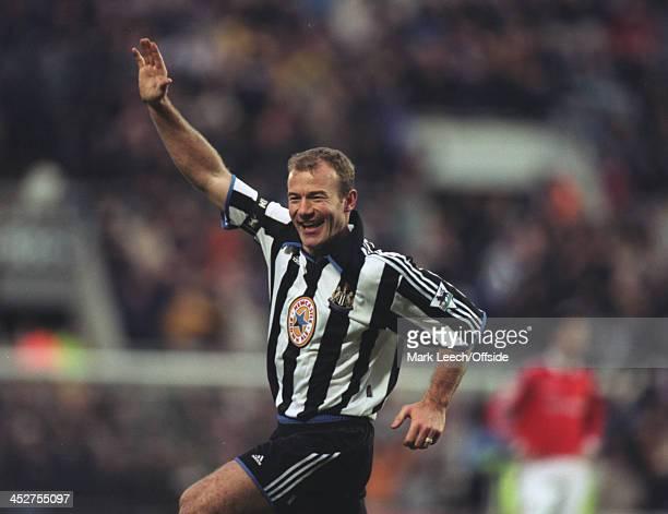 12 February 2000 English Premiership Newcastle Utd v Manchester Utd Alan Shearer of Newcastle celebrates scoring a goal for Newcastle