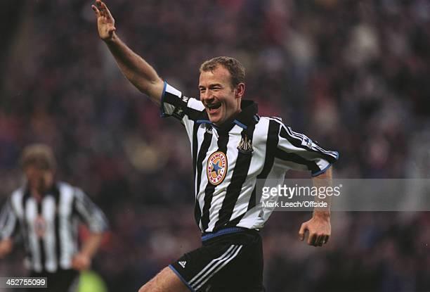 12 February 2000 English Premiership Newcastle Utd v Manchester Utd Alan Shearer of Newcastle celebrates scoring his goal