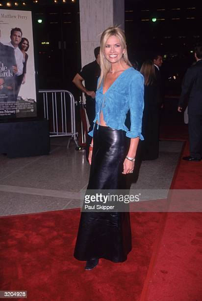 Fulllength image of American television personality and 'Access Hollywood' coanchor Nancy O'Dell posing at the premiere of director Jonathan Lynn's...