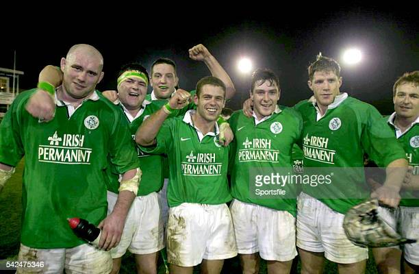 February 2000; Ireland A players, from left, John Hayes, Reggie Corrigan, Mark Blair, Dominic Crotty, David Wallace, Simon Easterby and Denis Hickie...
