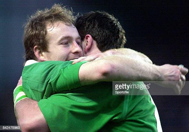 19 February 2000 Ireland's Denis Hickie left celebrates victory over Scotland with teammate Shane Horgan Six Nations Rugby International Ireland v...