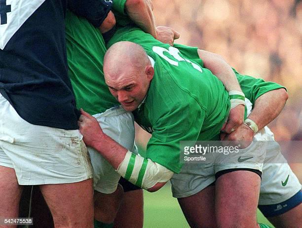 February 2000; John Hayes, Ireland. Six Nations Rugby International, Ireland v Scotland, Lansdowne Road, Dublin. Picture credit: Brendan Moran /...
