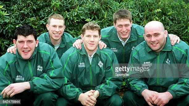 February 2000; The five new Ireland caps for the Scotland game, from left, Shane Horgan, Peter Stringer, Simon Easterby, Ronan O'Gara and John Hayes....