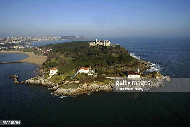 08 February 2003 Santander Spain Aerial view of the Palacio de la Magdalena an early 20thcentury palace builded to provides a a seasonal residence...