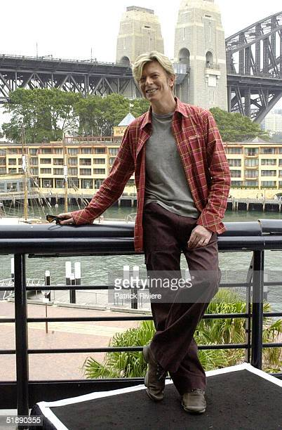 16 February 2004 English singer David Bowie attends a photocall for his Reality Tour at the Quay Restaurant in Sydney Australia