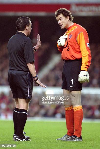 01 February 2004 London FA Barclaycard Premiership Arsenal v Manchester City Arsenal goalkeeper Jens Lehmann in discussion with referee Alan Wiley