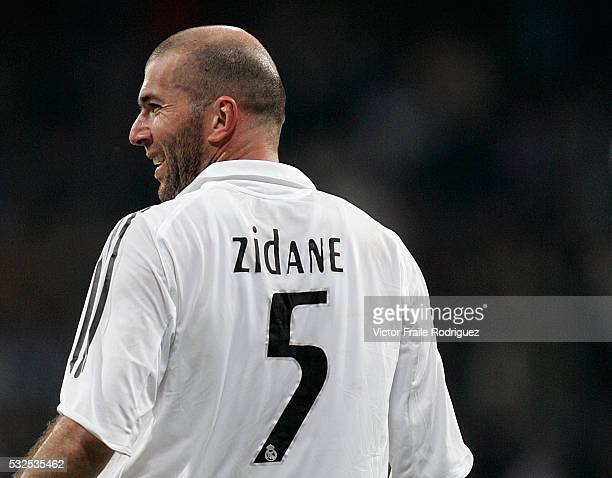 February 2006, Madrid, Spain --- Real Madrid's French midfielder Zinedine Zidane celebrates a goal during a Spanish First Division soccer match at...