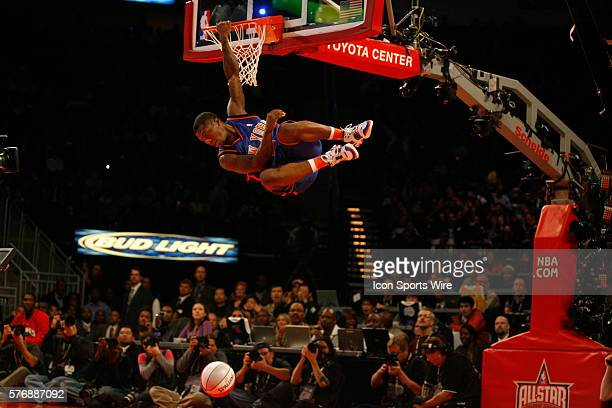 New York Knicks guard Nate Robinson participates in the Sprite Rising Stars SlamDunk competition at Toyota Center on Saturday February 18 2006 in...