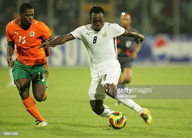 February 2008 Romaric Christian Koffi N'dri and Michael Essien during the AFCON 3rd and 4th playoff match between Ghana and Ivory Coast held at the...