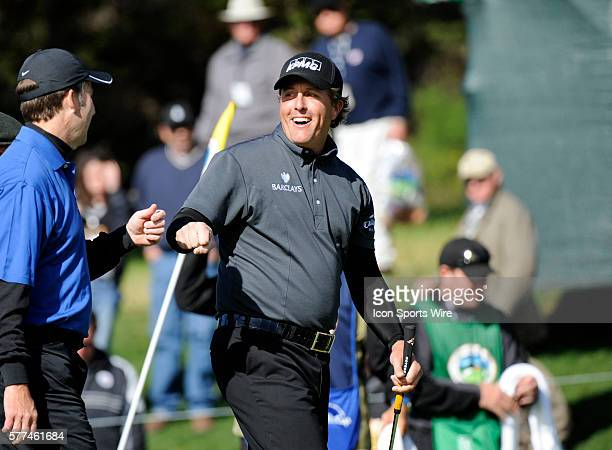 Phil Mickelson on the Pebble Beach course during the third round of the ATT Pebble Beach National ProAM golf tournament at Pebble Beach California