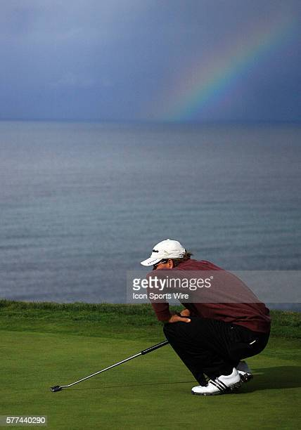 Ratief Goosen chasing the pot of gold at the end of the rainbow during the third round of the Buick Invitational at the Torrey Pines Golf Course in...
