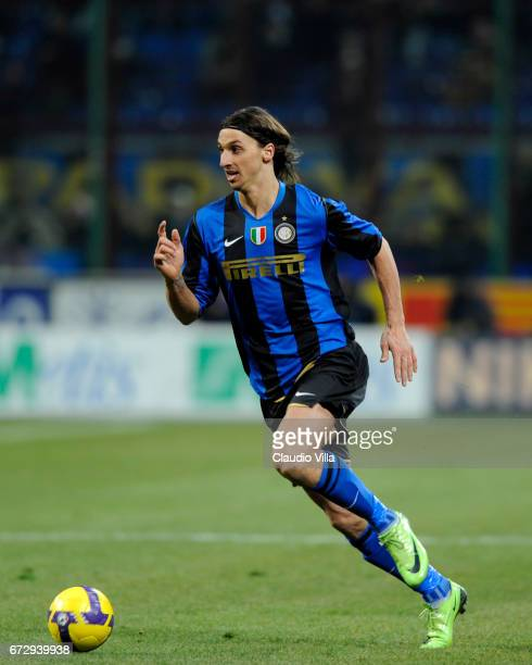 Zlatan Ibrahimovic of Inter Milan in action during the Serie A 20082009 match round 24th between Inter Milan and Milan at the Giuseppe Meazza stadium...
