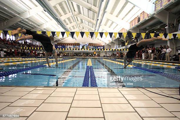 Megan Braun and Christine Jennings from the University of Minnesota competes in the 500 yard Freestyle at the 2009 Women's Big Ten Swimming Diving...