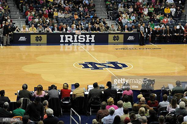 A general view of center court the Notre Dame logo and the clover and the scorers table during an NCAA basketball game between the St John's Red...