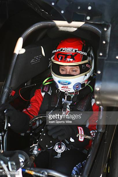 Ashley Force Hood gets ready for her Funny Car qualifying run for the NHRA Arizona Nationals at Firebird International Raceway in Chandler AZ