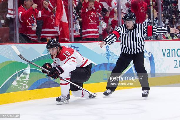 Canada's Jonathan Toews celebrates his goal against USA's goalie Ryan Miller during the Gold medal Hockey Final between the United States and Canada...