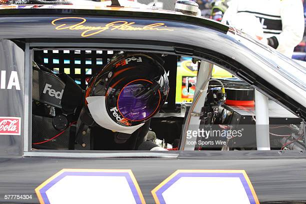 Denny Hamlin helmet on pit road before the start of race 1 of the Sprint Cup Series Gatorade Duels held at the Daytona International Speedway in...
