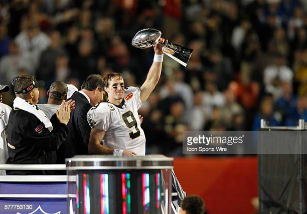 New Orleans Saints quarterback Drew Brees holds up the Lombardi Trophy after the New Orleans Saints 3117 victory over the Indianapolis Colts in Super...