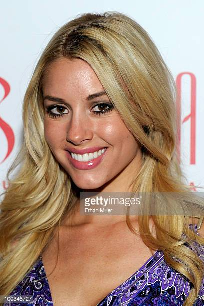 February 2010 Playboy Playmate of the Month Heather Rae Young arrives at the Tabu Ultra Lounge at the MGM Grand Hotel/Casino May 22 2010 in Las Vegas...