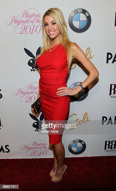 February 2010 Playboy Playmate of the Month Heather Rae Young arrives at a party to introduce model Hope Dworaczyk as the 2010 Playboy Playmate of...