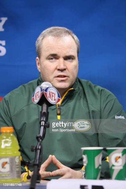 Green Bay Packers head coach Mike McCarthy during media day for Super Bowl XLV at Cowboys Stadium in Arlington, Texas.