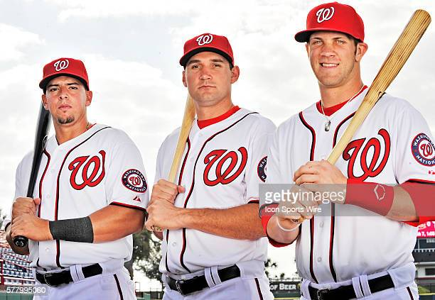 Washington Nationals' first round position draft picks Chris Marrero Ryan Zimmerman and Bryce Harper pose for a Photo Day image at Space Coast...