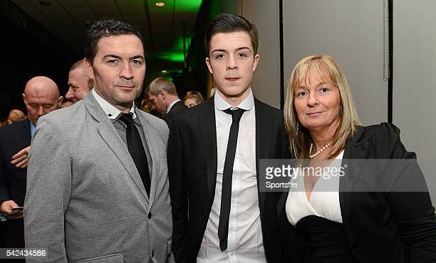 3 February 2013 Jack Grealish Aston Villa with his parents Kevin and Karen Three FAI International Football Awards RTE Studios Donnybrook Dublin...