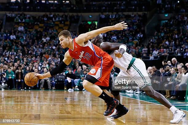 Los Angeles Clippers power forward Blake Griffin drives past Boston Celtics power forward Kevin Garnett during the Boston Celtics 106-104 victory...