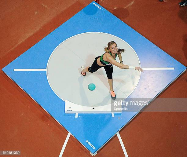 February 2014; Brianne Theisen Eaton competes in the women's shot putt event during the AIT International Arena Grand Prix. Athlone Institute of...