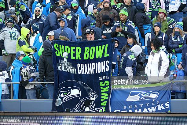 Seattle Seahawks players and 12th man fans celebrated bringing the Lombardi trophy home to Seattle during the Super Bowl Parade at Century Link Field...
