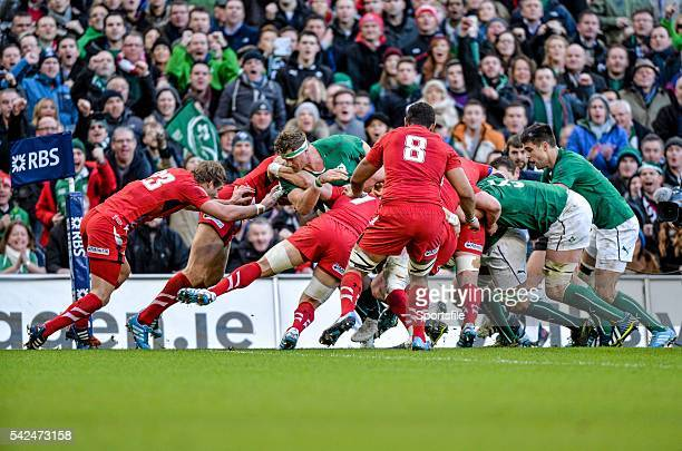 8 February 2014 The Irish pack push the Wales defence backwards to score their first try of the game through Chris Henry RBS Six Nations Rugby...