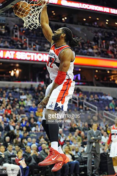 Washington Wizards power forward Nene Hilario in action against the Cleveland Cavaliers at the Verizon Center in Washington DC where the Cleveland...