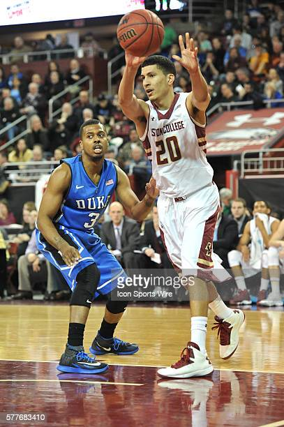 Boston College Eagles guard Lonnie Jackson passes the ball back out to the corner during the Boston College Eagles game against the Duke Blue Devils...