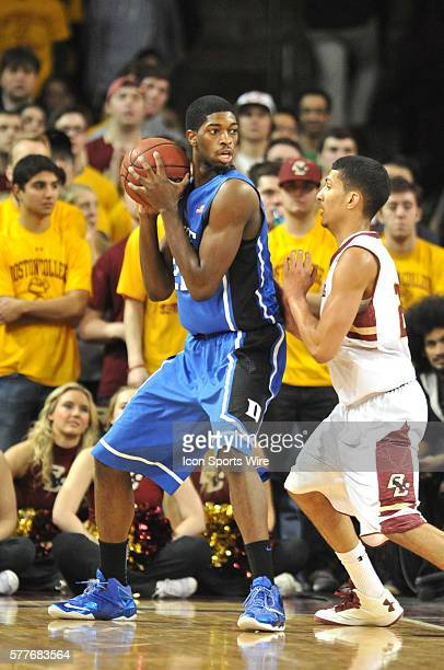 Duke Blue Devils forward Amile Jefferson tries to work his way to the basket during the Duke Blue Devils game against the Boston College Eagles at...
