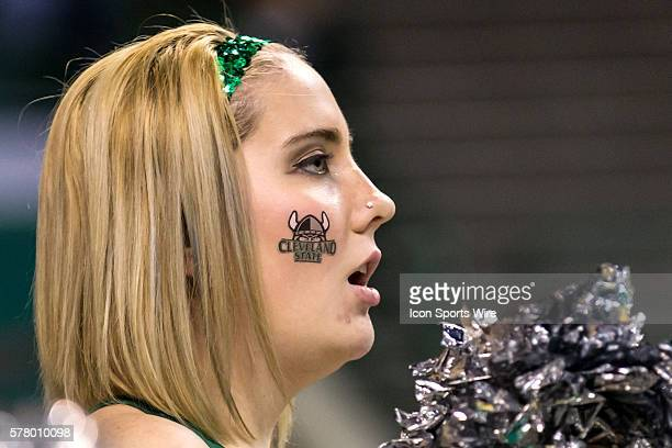 A member of the Cleveland State Vikings dance team during the game between the Wright State Raiders and Cleveland State Vikings at the Wolstein...