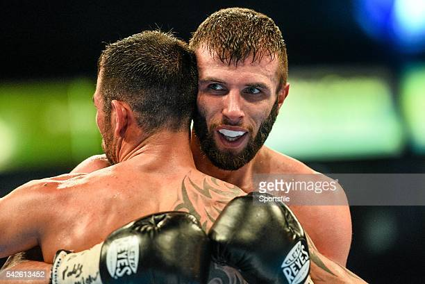 28 February 2015 Anthony Cacace in the clinch during his bout against Santiago Bustos The World Is Not Enough Undercard Odyssey Arena Belfast Co...