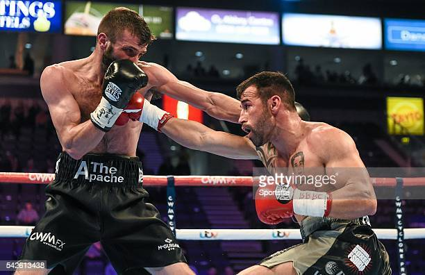 28 February 2015 Anthony Cacace left exchanges punches with Santiago Bustos during their Super Featherweight bout The World Is Not Enough Undercard...