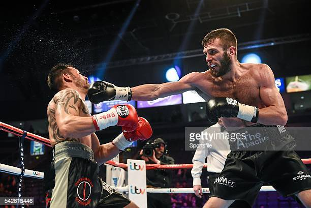 28 February 2015 Anthony Cacace right exchanges punches with Santiago Bustos during their Super Featherweight bout The World Is Not Enough Undercard...