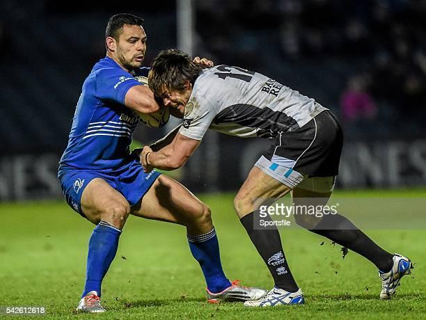 February 2015; Ben Te'o, Leinster, is tackled by Matteo Pratichetti, Zebre. Guinness PRO12, Round 15, Leinster v Zebre. RDS, Ballsbridge, Dublin....