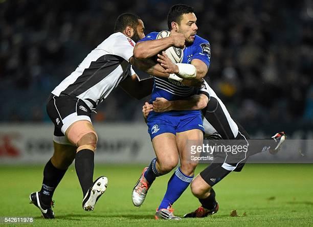 February 2015; Ben Te'o, Leinster, is tackled by Samuela Vunisa, left, and Mirco Bergamasco, Zebre. Guinness PRO12, Round 15, Leinster v Zebre. RDS,...