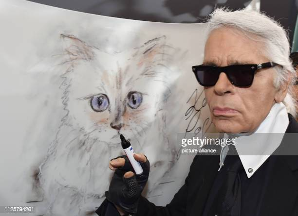 The fashion designer Karl Lagerfeld stands at the vernissage Corsa Karl und Choupette for his photo calendar in the Palazzo Italia at a drawing of...