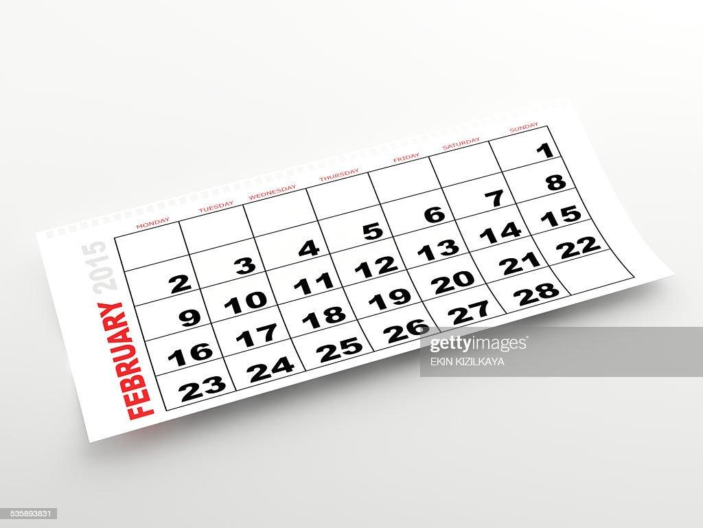 Februar 2015 Kalender : Stock-Foto