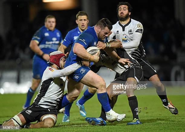 20 February 2015 Cian Healy Leinster is tackled by from left Ruben Riccioli Dion Berryman and Alberto Chillon Zebre Guinness PRO12 Round 15 Leinster...