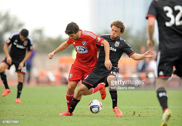 FC Dallas midfielder Ryan Hollingshead is defended by Nick DeLeon during 1 0 loss to DC United in preseason match at Mike A Myers Stadium in Austin TX