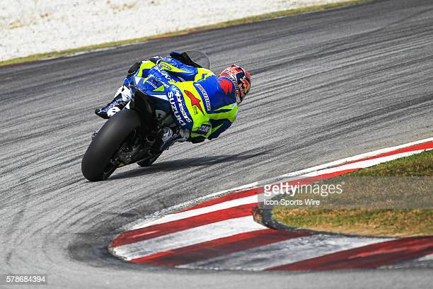 Maverick Vinales of Team Suzuki MotoGP in action during the second day of the second official MotoGP testing session held at Sepang International...