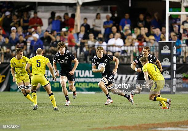 Scott Curry of New Zealand All Blacks during the quarter finals cup of the USA Sevens Rugby Tournament between Australia and New Zealand at the HSBC...