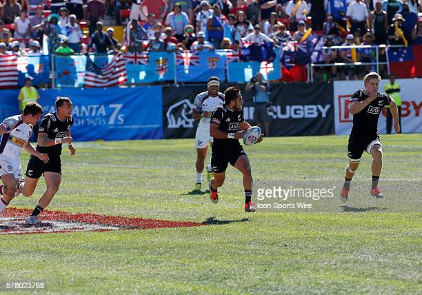 Sherwin Stowers of New Zealand runs down the field during the cup semi final at the USA Sevens Rugby tournament in Las Vegas Nevada New Zealand would...